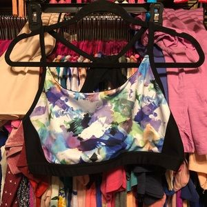 RBX strappy back floral sports bra